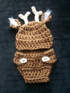 Sweet Baby Whitetail Deer Hat and Diaper Cover by FoxyLittleThing, $30.00