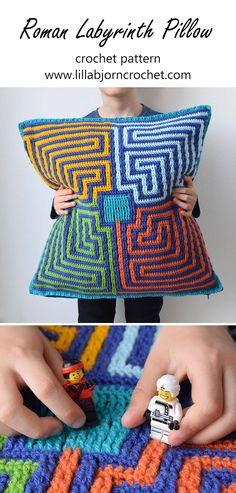 Roman Labyrinth overlay #crochet pattern is perfect both for pillows and rugs. Or even blankets, if you like clear geometric design. www.lillabjorncrochet.com
