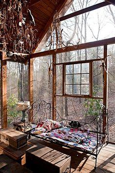 bedroom in the woods . . .