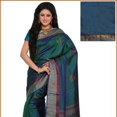 Blue and Green  Pure Kanchipuram Handloom Silk Saree with Blouse