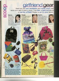 In the November 1996 issue of Seventeen, editors took a stab at putting together bags representing each Friends character. Let's take a look at what they thought each lady might carry… Fashion Mag, 90s Fashion, Vintage Fashion, Urban Fashion, Fasion, Fashion Photo, Whatever Forever, Massage Girl, Smells Like Teen Spirit