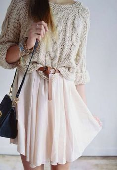 Love the two pieces! And, the idea to put them together. What makes this work is the chunky sweater tucked into the waistband. Overall, its very pretty.