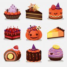 Hallowen Food, Halloween Sweets, Kawaii Halloween, Halloween Icons, Halloween Cupcakes, Halloween Candy, Halloween Art, Happy Halloween, Dessert Illustration