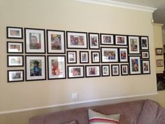 Our photo wall in our family room. Frames attached to wall with silicone! - Our photo wall in our family room. Frames attached to wall with silicone! Gallery Wall Layout, Gallery Wall Frames, Frames On Wall, Photo Wall Layout, Picture Arrangements On Wall, Photo Arrangement, Family Pictures On Wall, Family Wall, Family Room