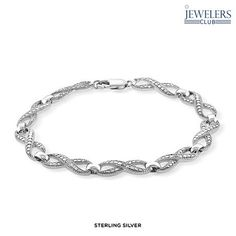 Genuine Diamond Accent Forever Love Bracelet in Sterling Silver - Assorted Finishes at 90% Savings off Retail!