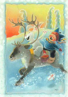 Kaarina Toivanen (my collection) - pioni pionia - Picasa Web Albums Winter Illustration, Christmas Illustration, Cute Illustration, Swedish Christmas, Vintage Christmas, Gif Animé, Reno, Winter Cards, Christmas Pictures