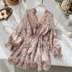 DRESS · FAIRYTALE UNDERCOVER · Online Store Powered by Storenvy Cute Casual Outfits, Casual Dresses, Short Dresses, Emo Outfits, Women's Casual, Floral Chiffon Dress, Pink Floral Dress, Look Fashion, Fashion Outfits