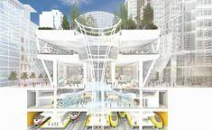 A ilustração ao lado corresponde ao projeto da futura Central de Trânsito Transbay, a nova estação de transporte multimodal projetada para conectar a cidade de San Francisco, nos Estados Unidos, e a área da baía por meio de 11 sistemas de transporte público, entre eles um trem de alta velocidade, além de ônibus, metrô e trens convencionais.