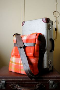 Repurposed Blanket Unisex Messenger Satchel in Melon Red and Camel with an Adjustable Dark Brown Kangaroo Leather Strap