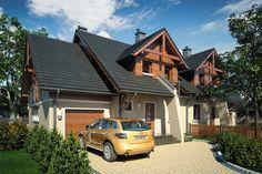 Dom jednorodzinny, dwulokalowy, parterowy z poddaszem użytkowym z garażem jednostanowiskowym