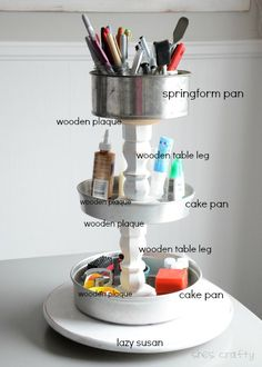 She's crafty: Craft Supply Storage Tower with upcycled pans