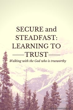 """If you are in a difficult season of life, read this! It's so helpful to remember what it says: """"But trusting God does not always mean that we feel secure or steadfast–it means that He is secure and steadfast, regardless of our feelings."""""""