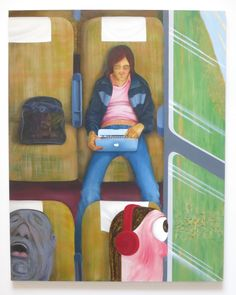 The woman at the center of Nicole Eisenman's portraits 'Weeks on the Train,' (the writer Laurie Weeks) is casually posed, but commands an unusually large amount of room. The space creates an aura around her and gives her a sense of approachability that eludes the two oddballs seated in front of her. (At Anton Kern Gallery in Chelsea through June 25th). Nicole Eisenman, Weeks on the Train, oil on canvas, 82 x 65 inches, 2015.
