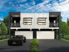 House Design Duplex Garage Ideas For 2019 Large Open Plan Kitchens, Open Plan Kitchen Dining, Modern Townhouse, Townhouse Designs, Duplex House Plans, House Floor Plans, Real Estate Australia, Duplex House Design, Story House