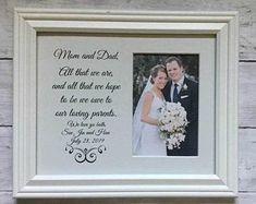 D Marie Bridal And Wedding Accesories by DMarieBridal on Etsy Wedding Picture Frames, Wedding Frames, Wedding Guest Book, Personalized Picture Frames, Personalized Wedding Gifts, Bride Sister, Father Of The Bride, Wedding Gifts For Parents, On Your Wedding Day