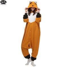 Polar Fleece Cartoon Cute Fox Animals Siamese Pyjamas Winter Adult Unisex Onesie Pajama Sets Christmas Cosplay Women Jumpsuit #Affiliate
