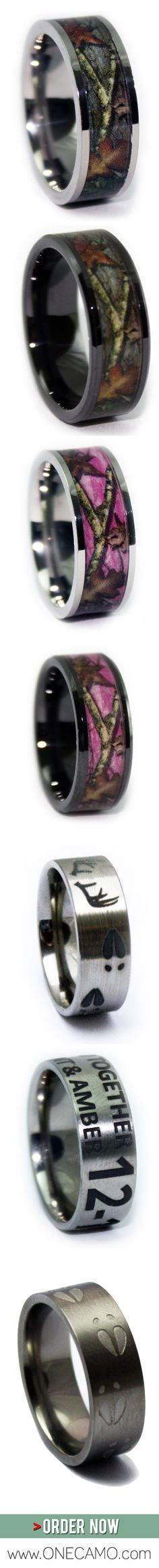 Looking for a gift for your hunter? Having a Camo Wedding? Do you LIVE in Mossy Oak and Realtree Camo apparel? Love the outdoors and hunting? ONECAMO created these Hunting and Camo Rings for you! Order now at www.1CAMO.com