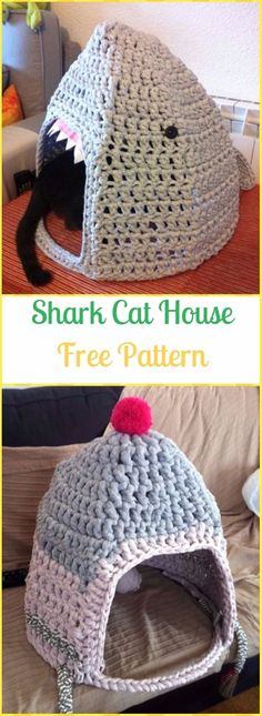Crochet Shark Cat House Free Pattern - Crochet Cat House Patterns