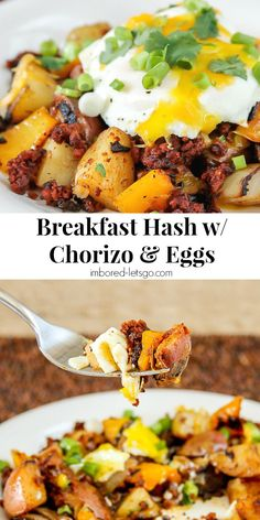 Here's a delicious one pan Breakfast Hash with Chorizo and Egg. Can use a fried egg or make it with scrambled eggs. Both fantastic!