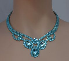 Three Pear Ballroom Necklace Swarovski Crystal in Light Turquoise