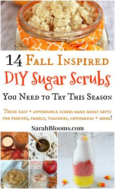 easy DIY Sugar Scrubs are perfect for fall + winter with fall inspired scents like apple, cinnamon, pumpkin + more!These easy DIY Sugar Scrubs are perfect for fall + winter with fall inspired scents like apple, cinnamon, pumpkin + more! Sugar Scrub Homemade, Sugar Scrub Recipe, Diy Body Scrub, Diy Scrub, Homemade Beauty, Diy Beauty, Homemade Facials, Beauty Box, Beauty Hacks