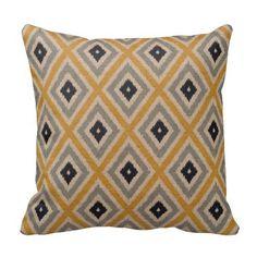 Ikat Tribal Diamond Pattern Yellow Blue Brown Pillow #homedecor   #pillows #gifts  http://www.zazzle.com/ctek101*