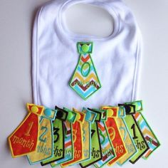 Baby Boy Monthly Milestone Bib Tie Set One white cotton bib with 13 interchangeable handmade embroidered monthly milestone ties. Ties: I really really want this for my little man. Everything Baby, Baby Crafts, Cool Baby Stuff, Baby Sewing, Baby Bibs, Future Baby, Baby Boy Outfits, Baby Items, Baby Shower Gifts