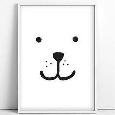 Tellkiddo - Bear face print - size A4 (unframed)