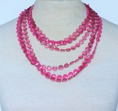 Vintage Multistrand Triple Three Multi Strand Bright Pink Clear Opaque Round Faceted Bead Beaded Sautoir Flapper Rope Length Necklace by ThePaisleyUnicorn on Etsy