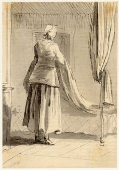 """A woman making a bed"" by Paul Sandby.  One of his ""Figure sketches made in Edinburgh and the neighbourhood after the rebellion of 1745.""  Women -- Clothing & dress -- 1700-1799 -- Scotland. 18th century Scottish costume."