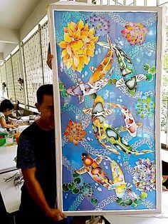 Batik Koi Painting, Fabric Painting, Koi Art, Carpe Koi, Lotus Art, Batik Art, Silk Art, Mural Art, Cool Artwork