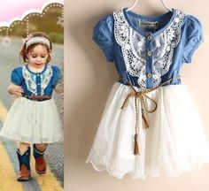 Pretty cowgirl denim western style dress outfit for infant/toddler girls. Perfect as gift, birthday party, birthday theme,wedding in the barn outfit,casual,and other occasions. Nice matching with a tiny little boots with a cowgirl hat. Enjoy taking pics ...