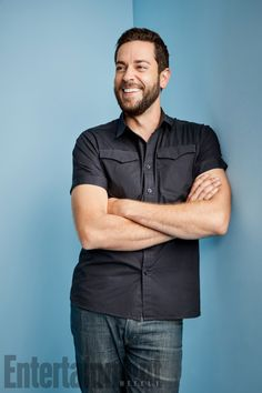 Zachary Levi poses for the 2017 Comic-Con International Portrait Session by Matthias Clamer for Entertainment Weekly in San Diego, California (July Zachary Levi, Celebrity Photography, Hottest Male Celebrities, Entertainment Weekly, Nerd, Men Casual, Mens Tops, Cheryl, Photo Shoot