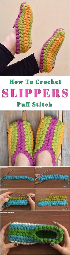 Colorful Puff Stitch Slippers Crochet Tutorial