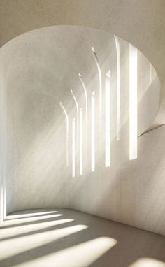 LIGHT: This is a photography of a hallway in a cathedral. There is very white, visual light shining through the windows which creates shadows on the floor. The design is very clear and simple because there are no colors or any disaccords.