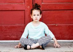 Patterned Cuffed Harem Pants with Pockets by ThePetitArtiste, modern kids clothes