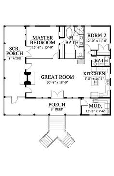Like the wrap porches. Would make master bed and bath bigger. Second bedroom e. Like the wrap porches. Would make master bed and bath bigger. Second bedroom eliminate cause woul 2 Bedroom House Plans, Cottage Floor Plans, Small House Floor Plans, Cabin House Plans, Cabin Floor Plans, Cottage House Plans, New House Plans, Dream House Plans, Two Bedroom Tiny House