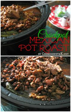 Crockpot Mexican Pot Roast {A flavorful roast that the whole family loved!} A pork roast cooked with pinto beans, rotel tomatoes, 4 whole jalapeños, and cumin seasoning! Makes enough for plenty of leftovers used in making Carnitas, burritos, and enchiladas! Endless possibilities! www.cookingwithk.net