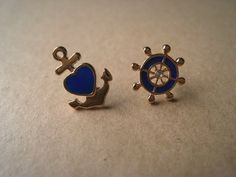Nautical Earrings Anchor Earring Wheel Earring by Bitsofbling