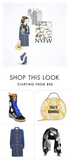 """""""New York state of mind."""" by never-too-late-to-dream ❤ liked on Polyvore featuring Maison Margiela, Kate Spade, See by Chloé, Skullcandy, Burberry, NYFW, denim, Boots, DenimDress and blueandyellow"""