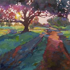One of our favorite paintings of an oak tree by Karen Mathison Schmidt.  США.