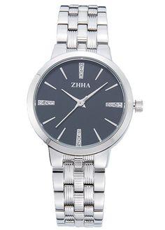 ZHHA Women's 065 Luxury Quartz Black Dial Silver Stainless Steel Bracelet Wrist Watch Waterproof