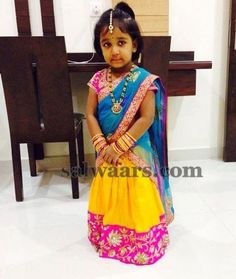 Little Cutie in Yellow Half Saree | Indian Dresses