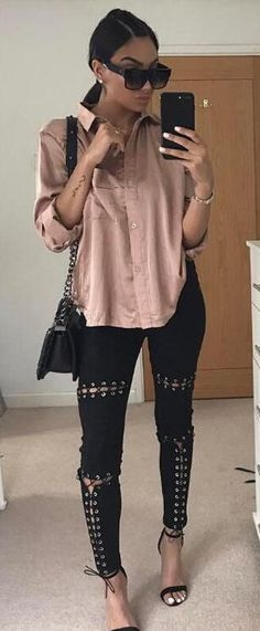Street Outfit Boho Chic Lace-up Bandage Suede Sexy Skinny Long Pants