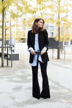 Outfit: Schlaghose aus Samt mit Longblazer und Boyfriend Bluse