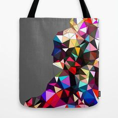 Art Tote Bag - Gray Canvas Tote Bag This 16 x 16 inch geometric print canvas tote bag is created in the US using durable but lightweight, poly poplin fabric. The bag is washable, and features the shad
