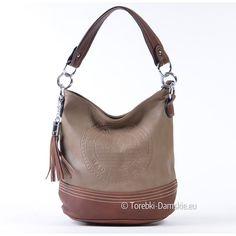Beżowo - brązowa torebka z pieczątką ozdobną i frędzlem. Zobacz wszystkie zdjęcia modelu -> Kliknij http://torebki-damskie.eu/bezowe/1352-bezowo-brazowa-torebka-damska-cappuccino.html