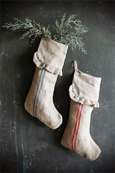 French Country Linen Christmas Stocking