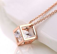 18K Rose Gold Plated Simple Square Necklace Cube Pendant Everyday Jewerly