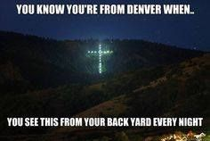 Have we all seen..Mount Lindo bears its cross: the big cross up on the mountain…Francis VanDeber, who owned Mount Lindo back in the 1940s wanted his wife to be able to see his burial site from their home in Denver's Park Hill neighborhood. So after his passing, his son had a cross measuring 393 feet tall by 254 feet wide installed on the site and can be seen from the highway and parts of the city it watches over. On the East side of the mountain is the largest lighted cross in the United…